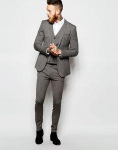 Imagen 70 Chaqueta de traje muy entallada con diseño jaspeado y pantalón súper pitillo | HISPABODAS