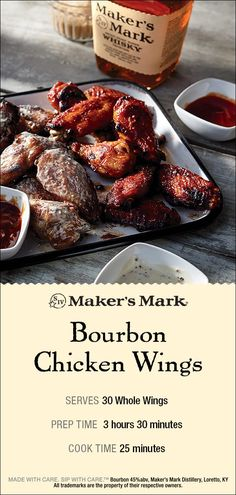 Our Bourbon Chicken Wings are served with three bold, Maker's Mark Bourbon infused sauces. Bourbon Chicken Wings Recipe, Chicken Wing Recipes, Bourbon Recipes, Cooking Recipes, Sauce Recipes, Makers Mark Bbq Sauce Recipe, Good Food, Yummy Food, Keto Meal Plan