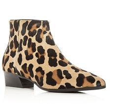 Aquatalia Fire Weatherproof Leopard Print Calf Hair Booties
