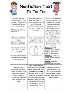 Let your students apply and/or practice nonfiction text conventions with this Tic Tac Toe reading task. Students choose 3 activities that focus on 3 different nonfiction convention to promote critical thinking.