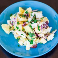 Oriental potato salad jo cooks potato salad no mayo, cold dishes, rom Potato Salad Dill, Potato Salad Dressing, Potato Salad Recipe Easy, Salad Recipes Video, Healthy Salad Recipes, Recipe Videos, Healthy Food, Edamame, Guacamole