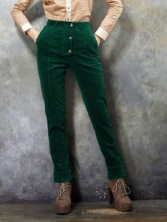 Shop Vintage Gold Buckle Corduroy Trousers In Green from choies.com .Free shipping Worldwide.$59.99