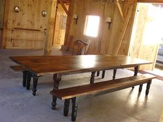 Huge Farm Table with Turned Legs.. $1,600.00, via Etsy.