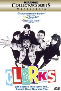 "Clerks, 1994. /// ""A little word of advice, my friend. Sometimes you gotta let those hard-to-reach chips go."" /// I rented this on VHS from Video Update when I was 14 and it blew my mind. I don't know why I picked it. I didn't even understand some of the jokes, but it totally cracked me up. I've seen this probably 100 times over the years."