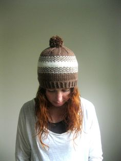 Fair Isle Brown and Cream Knit Pompom Hat  Brown by hilaryfrazier, $52.00
