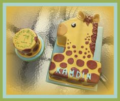 Cakes By Christina Russell Number 1 Giraffe Giraffe Birthday Cakes, Giraffe Birthday Parties, Giraffe Cakes, Safari Cakes, 1st Birthday Cakes, Birthday Ideas, Giraffe Party, Monkey Cakes, Zoo Birthday