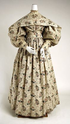 Ensemble: Dress with Pelerine 1831, American, Made of cotton