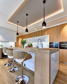 Kitchen interior - 44 fabulous modern kitchen sets on simplicity, efficiency and elegance 33 – Kitchen interior Kitchen Ceiling Design, Luxury Kitchen Design, Kitchen Room Design, Contemporary Kitchen Design, Kitchen Sets, Kitchen Layout, Home Decor Kitchen, Interior Design Kitchen, Rustic Kitchen