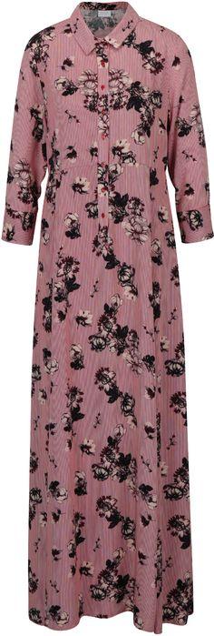 Čierna kvetované košeľové maxišaty VILA Valene