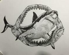 Dot Work White Shark tattoo,squalo bianco disegnato da Fabrizio Biancofiore