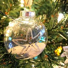 clear plastic painted beach ornament