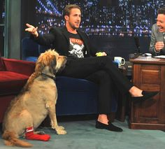 ryan gosling on jimmy fallon. LOVE his black suede slip-ons and mohawked dog, george.