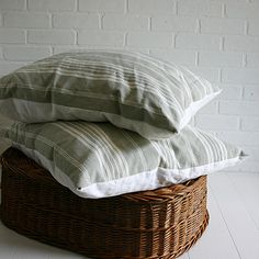 French Ticking Pillows    Large Pair from Vintage by ZinniaCottage, $135.00