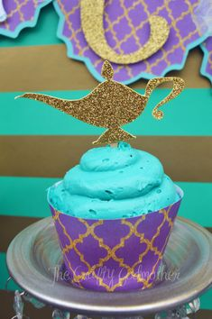 Princess Jasmine Gold Glitter Birthday Party Cupcake Toppers