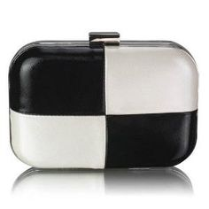 Black White Boxed Clutch Bag