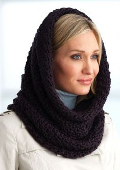 Warm and cozy hooded cowl to crochet in Bernat Alpaca. Click link below for free pattern.