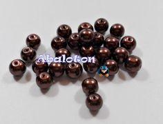 Perlas cristal lacado marrón oscuro 8mm