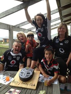 The Smiths celebrating Cole's 7th birthday with a Vodafone Warriors Birthday Cake - from Michelle Smith