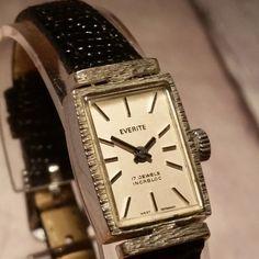 Women's Mechanical Everite Watch. Vintage Ladies Watch. Wind Up Watch. Mechanical. Vintage Silver Watch. Classic Ladies Watch. Square Watch.