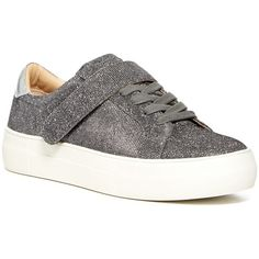 Steve Madden Arri Glitter Platform Sneaker (52 CAD) ❤ liked on Polyvore featuring shoes, sneakers, pewter glitter, platform trainers, steve-madden shoes, platform shoes, lace up sneakers and velcro shoes