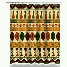 Miracille African Culture Shower Curtain Home Decor Ethnic Bohemian Style Polyester Waterproof Curtains For Bathroom 12 Hooks Geometric Cushions, Geometric Throws, Shower Curtain Sizes, Custom Shower Curtains, Home Curtains, Bathroom Shower Curtains, Hotel Decor, Ethnic Print, African Culture