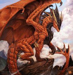 Daeron the Red dragon by Chaos-Draco