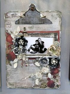 CHA Wrap-Up! by anne Mixed Media Boxes, Mixed Media Collage, Altered Canvas, Clipboard Crafts, Craft Booth Displays, Display Ideas, Decoupage, Altered Bottles, Girly Girl