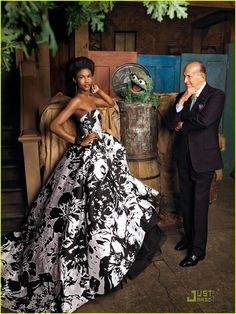 3 Oscars | Oscar the Grouch, Sessilee Lopez in Oscar de la Renta to one side, and Oscar de la Renta on the other. Photo by Jason Schmidt for Harper's Bazaar 2009.