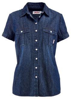 Camisa jeans manga curta azul-escuro estonado - Moda Feminina - bonprix.de