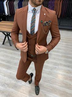Deo Suits – BOJONI Dress Suits For Men, Men Dress, Graduation Suits, Brown Suits For Men, Grey Slim Fit Suit, Orange Suit, Burnt Orange, Blazer Outfits Men, Formal Men Outfit
