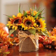 Sunflower & Burlap Floral Arrangement--- Ok I must make this!