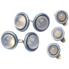 Faberge Enamel Moonstone Gold Dress-Set | From a unique collection of vintage cufflinks at https://www.1stdibs.com/jewelry/cufflinks/cufflinks/