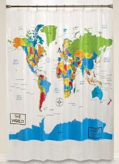 Amazon.com: Home World Map Shower Curtain: Home & Kitchen  This is perfect for the classroom! I bet you could write on/wipe off too!!!!