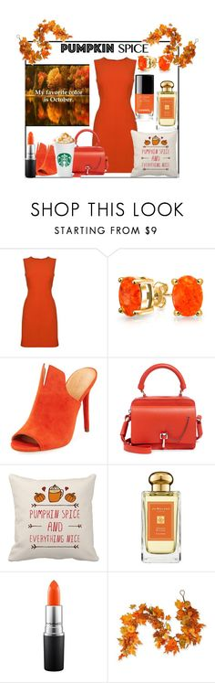 """""""October is my Favorite Color!"""" by sallytcrosswell on Polyvore featuring Diane Von Furstenberg, Bling Jewelry, Halston Heritage, Carven, Jo Malone, MAC Cosmetics, National Tree Company and pumpkinspice"""