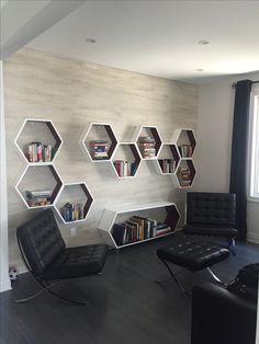 6 Unique Wall Shelves Ideas That Will Impress You - futurian Unique Wall Shelves, Home Decor Shelves, Home Decor Furniture, Diy Home Decor, Furniture Design, Honeycomb Shelves, Hexagon Shelves, Bookshelf Design, Wall Shelves Design