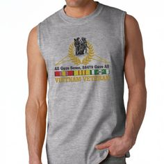 "One of our most popular designs, now available on a sleeveless shirt! This 100% Polyester Gildan sleeveless shirt will keep you cool and dry all summer long. When the weather calls for ""Suns Out, Guns Out"", show your Vietnam Veteran Pride in the Vietnam Veteran ""All Gave Some, 58479 Gave All"" Sleeveless Shirt."