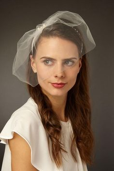 Ingrid Tulle Blusher Veil with Pearl Headband - Genevieve Rose Bridal
