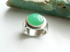Chrysoprase and Sterling Silver Ring by GlacierJewellery on Etsy