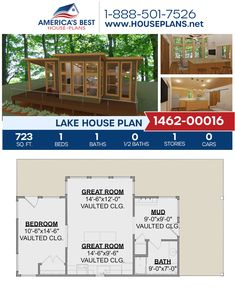 Live your best life in this exclusive 723 sq. ft. Lake house. Plan 1462-00016 delivers 1 bedroom, 1 bathroom, a kitchen island, an open floor plan, a mudroom, and vaulted ceilings. #lakehouse #vacationhouse #openfloorplan #onestoryhome #architecture #houseplans #housedesign #homedesign #homedesigns #architecturalplans #newconstruction #building #floorplans #dreamhome #abhouseplans #besthouseplans #newhome #newhouse #homesweethome #buildingahome #buildahome #residentialplans #vaultedceiling