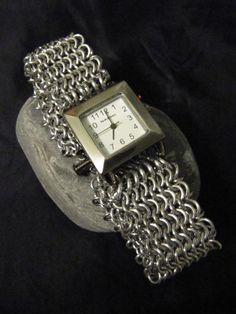 Silver thick Chainmaille watch by MischiefOfMice on Etsy, $45.00