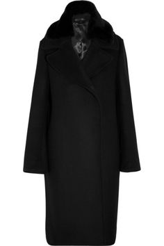 Black wool, shearling Concealed button fastenings through front wool nylon; Best Winter Coats, Cool Street Fashion, Street Style, Studio S, Casual Elegance, Wool Coat, Acne Studios, Duster Coat, Leather Jacket