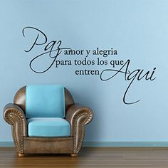Spanish Wall Decal Love Saying Quotes Letters Phrase Words Wall Stickers Vinyl Home Wall Decoration - pay amor y alegria Dark Brown DigTour WallArt http://www.amazon.com/dp/B00RDXPHE6/ref=cm_sw_r_pi_dp_50nGvb13GN1RF