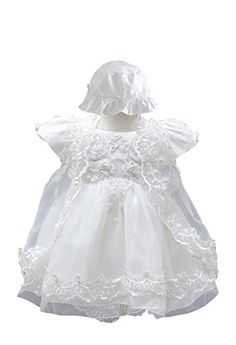 BabyPreg Baby Girls Christening Baptism Gown Birthday Party Dress 3M  06 Months White * You can find more details by visiting the image link. (This is an affiliate link) #BabyGirlDresses