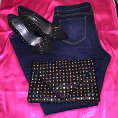 ☀️Black Studded/Rhinestone Envelope Clutch Handbag NWOTSuper cute envelope clutch with goldtone studs and colorful rhinestonesBottom right side of flap is missing one rhinestone - did not notice until after I purchased - it does not deter from this beauty but I adjusted price accordinglyClean on inside with six credit card slots Forever 21 Bags
