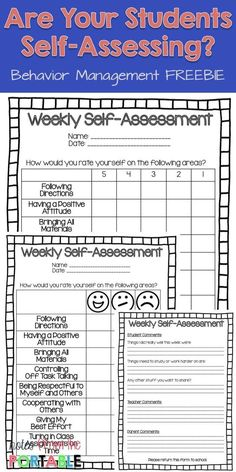 The Way to Improve Student Behavior! - Let Them Self-Assess Put weekly assessing in the hands of the students with this FREE Weekly Self-Assessment. Great for helping with student behavior. Totally helped with parent communication! Student Self Assessment, Formative Assessment, Student Self Evaluation, Neurological Assessment, Disc Assessment, Student Feedback, Career Assessment, Personality Assessment, Teacher Evaluation
