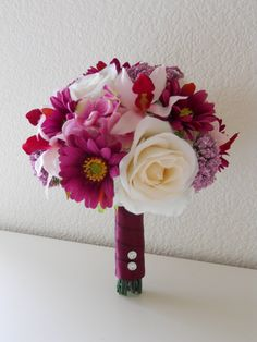 Sangria Magenta Pink and Ivory Bridal Bouquet by MyWeddingDesign