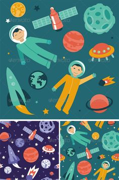 Cartoon Astronauts in Space and Patterns — Vector EPS #galaxy #flat • Available here → https://graphicriver.net/item/cartoon-astronauts-in-space-and-patterns/5041696?ref=pxcr