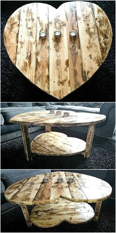 wood pallets heart style table