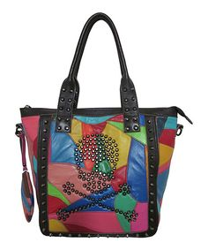 Look at this Pink Rainbow Crossbones Leather Tote on #zulily today!