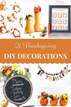 Thanksgiving Decorating Ideas - Do you want festive, pretty, or fun decor in your home? Try any of these 21 ways to diy your own decorations for Thanksgiving. Thanksgiving Table, Thanksgiving Decorations, Thanksgiving Recipes, Mason Jar Crafts, Mason Jars, Fall Diy, Autumn Fall, Easy Home Decor, Mantle Decorating